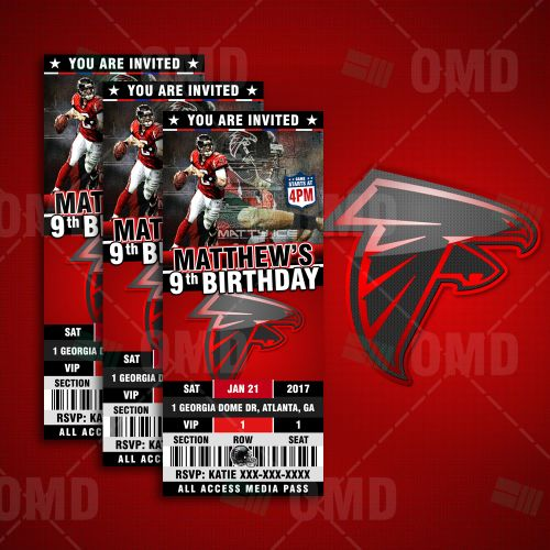 Atlanta Falcons Ticket Style Sports Party Invitations by #sportsinvites