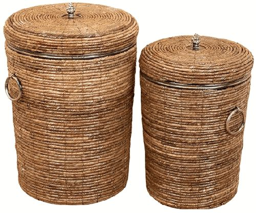 Marcel Home Decor Gift Large Set/2 Willow Hampers Basket Set With Lid Covers