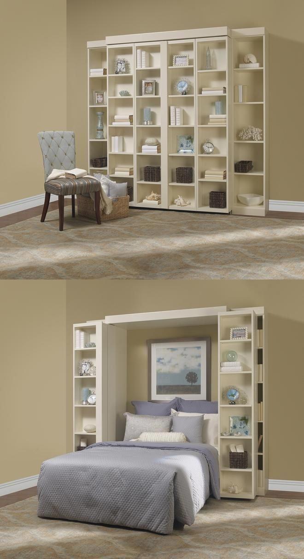 An Ingenious Murphy Bed Closed Then Open The Bookshelves Open