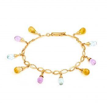 Золотой браслет с яркими полудрагоценными камнями.