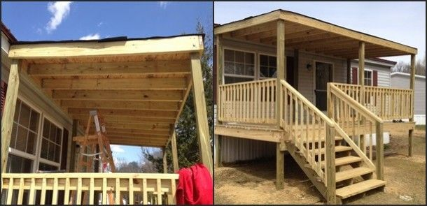 Diy decks and porch for mobile homes custom mobile home for How to build a front porch on a mobile home