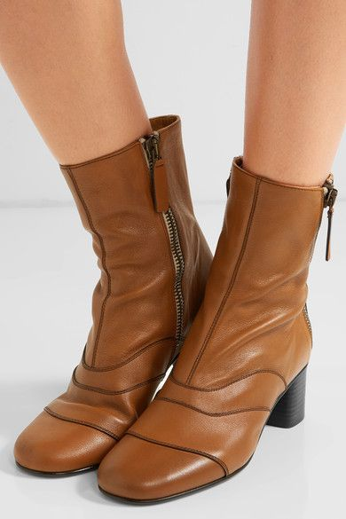 Chloé - Paneled Leather Ankle Boots - Tan