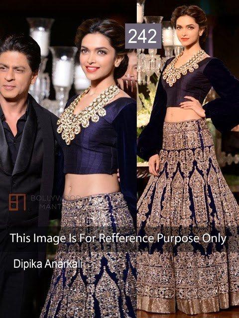 4799,- ready to ship bollywood replica Deepika Padukone Blue Lehenga In Manish Malhotra At Delhi Couture -Clothing-Lady Bazaar