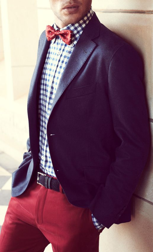 Red Pants, Blue Blazer, Checkered Shirt, and Bow Tie.
