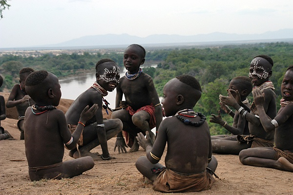 February 27, 2012 - Ethiopia:  Children of the semi-nomadic, agro-pastoralist Karo tribe, in South Omo Zone - 2005©UNICEF/Getachew    To learn more: http://www.unicef.org/photography