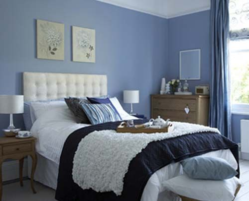 Blue Bedroom Decoration With Beige Accent On Wall