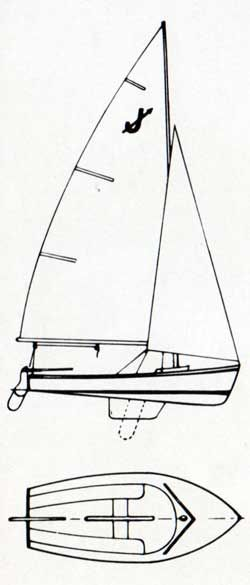 Top and Side View Diagrams of the O'Day Javelin Sailboat