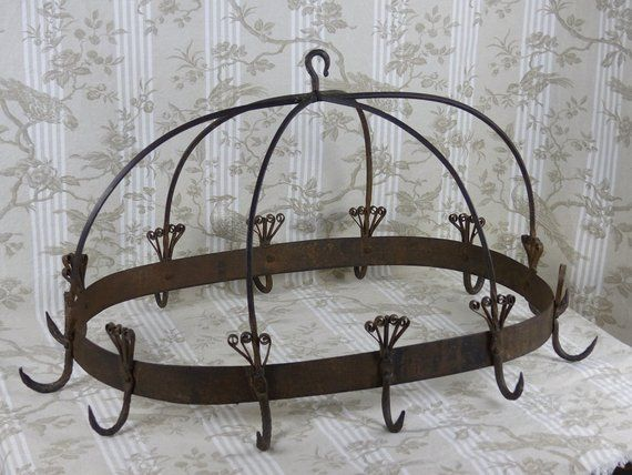 """28"""" Rustic French Farmhouse Pan Rack with 6 Butcher Hooks"""