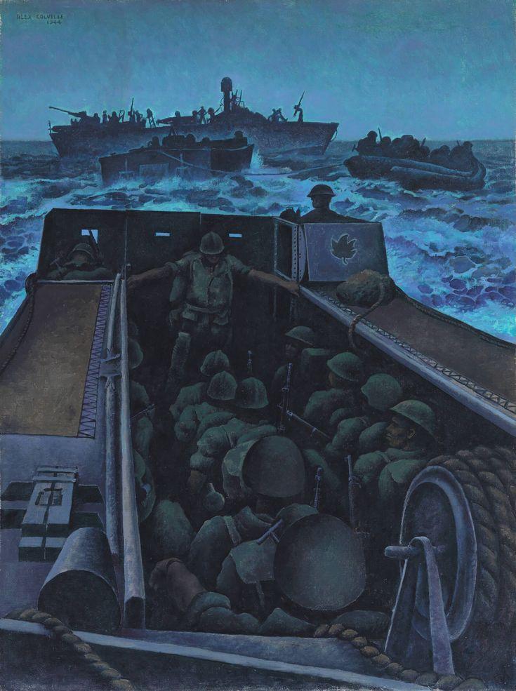 Alex Colville, Landing Craft Assault Off Southern France, 1944, oil on canvas, 101.4 x 76 cm, Beaverbrook Collection of War Art, Canadian War Museum, Ottawa.