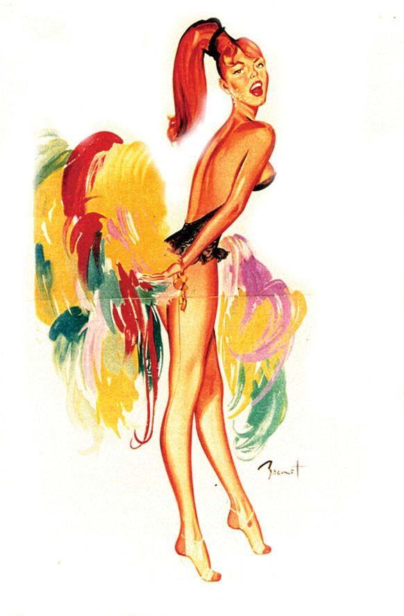 BRENOT PIERRE LAURENT RAYMOND Girl du Lido de Paris  Imp. 1954 Aff. N.E. en 9 panneaux B.E. B + déchirures, plis / folds & tears 360 x 160#art #auction #poster #affiche #print #paper #papier