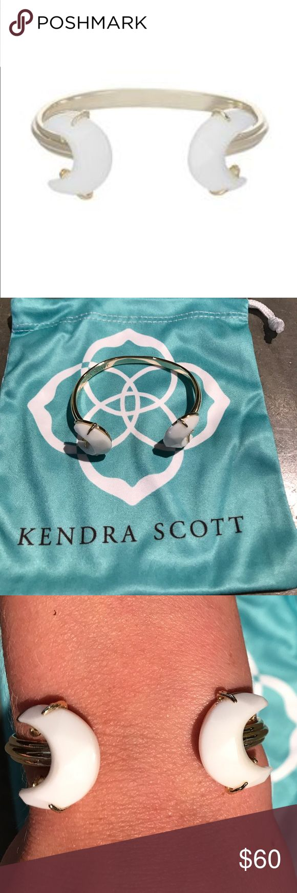 Kendra Scott Carson Cuff Gold metal, white stone. Good condition. Sold out style! Kendra Scott Jewelry Bracelets