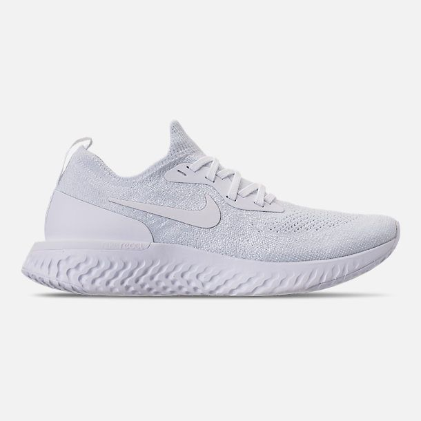 869636a6e3be Right view of Women s Nike Epic React Flyknit Running Shoes in True White  White Pure Platinum