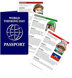 Passports and Printable Fact Cards - they have one for France that I probably can copy at work to distribute...there's a matching fun patch that we could consider as well