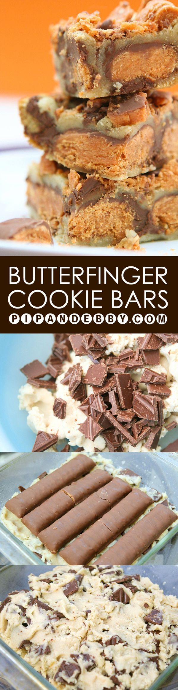 Butterfinger Cookie Bars - My favorite candy bar is baked RIGHT into the center of these delicious bars. YUM!
