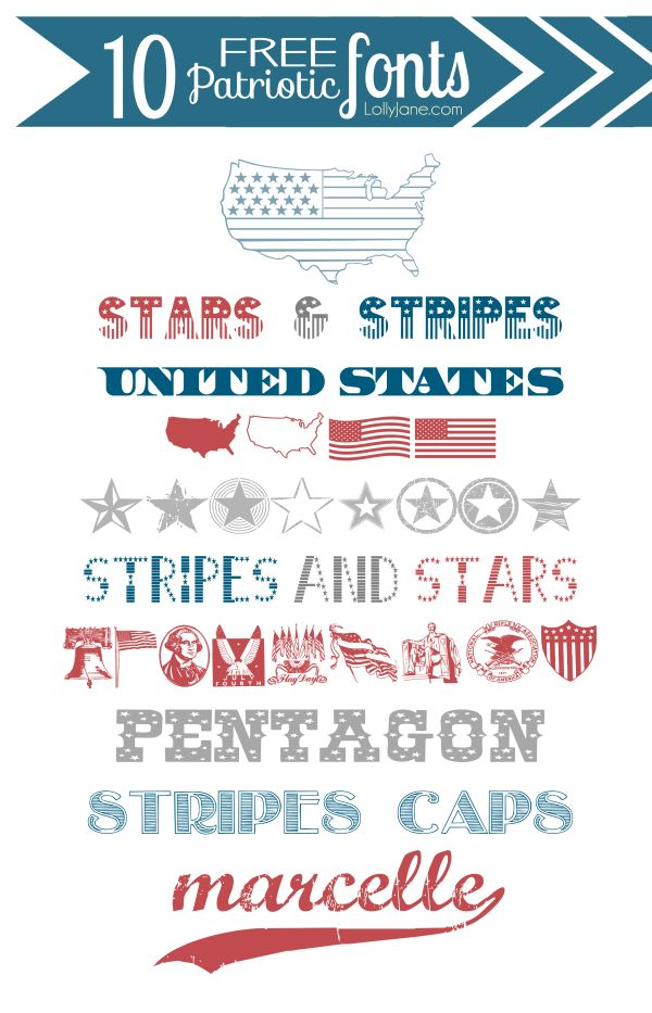 10 FREE patriotic (4th of July) fonts
