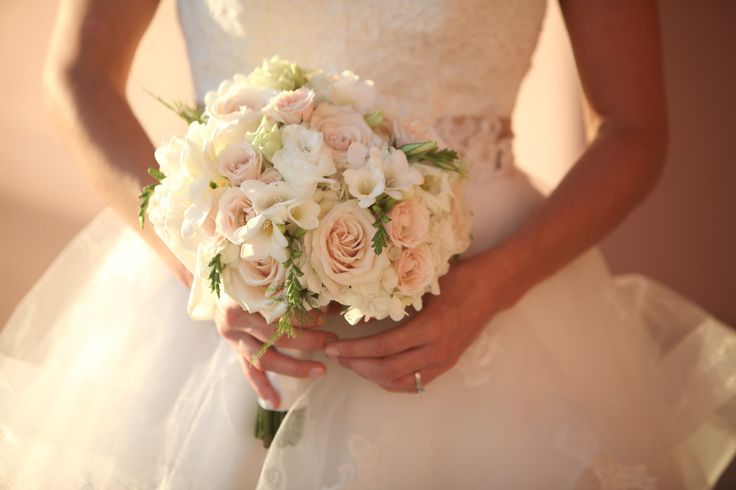 Bridal Bouquet - Sahara Roses and Ivory Hydrangea with Dusty Miller instead of greenery