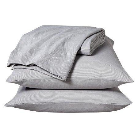 Room Essentials™ Jersey Sheet Set - Gray Stripe (Queen) : Target