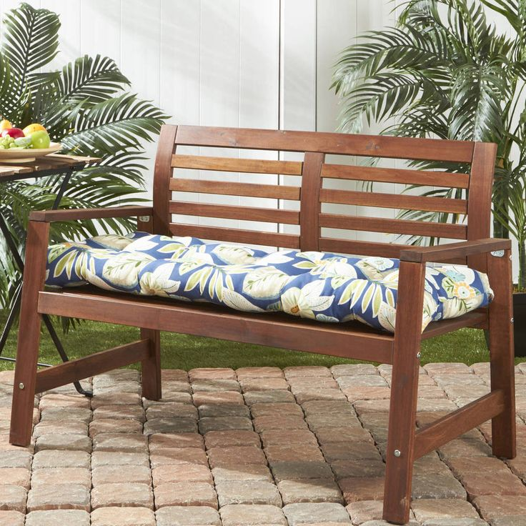 "Patio Bench Cushion Swing Outdoor 51"" Garden Blue Floral Seat Tufted Porch NEW #PatioCushionsHomeFashions"