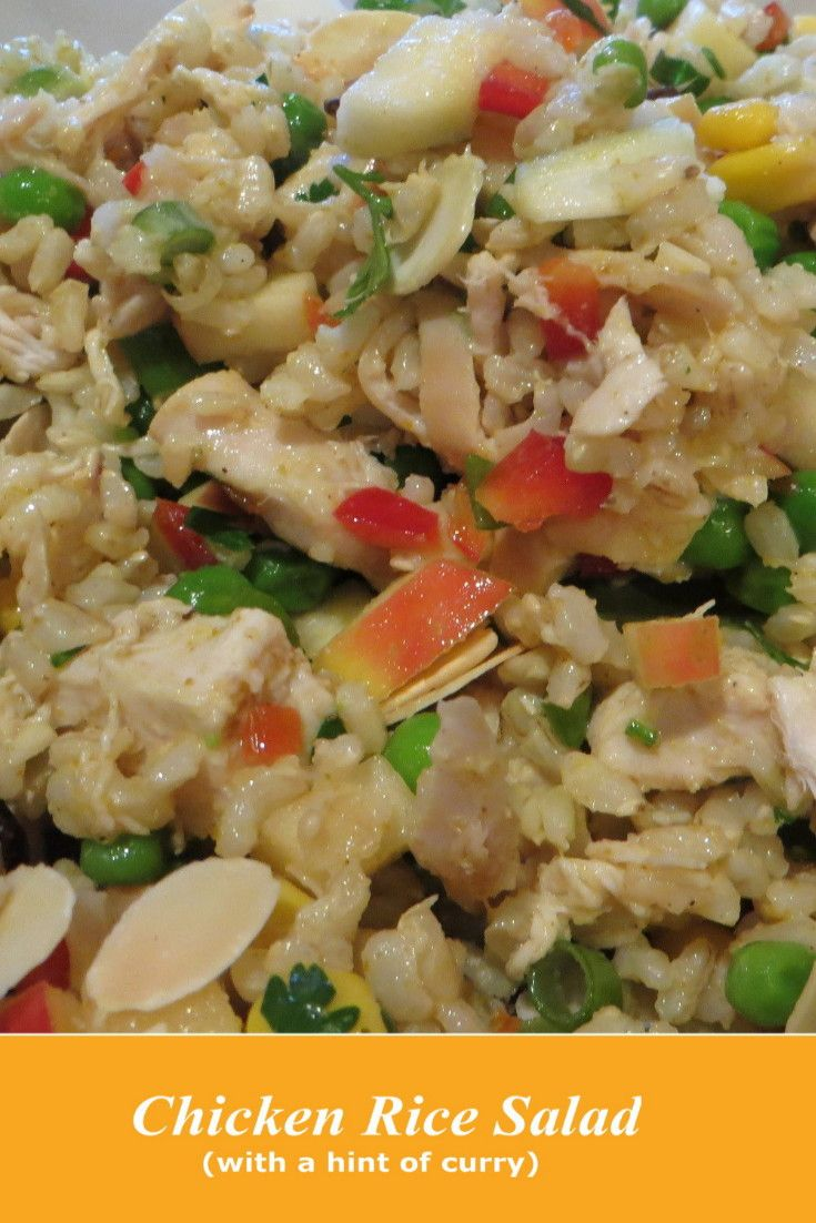 Rice Salad With Chicken - This salad is sufficient for four people as a whole meal and would feed about 12 as a side salad. Lots of texture and sweet and savoury flavours in this yummy meal. For other recipes see: http://www.cheap-and-easy-recipes.com