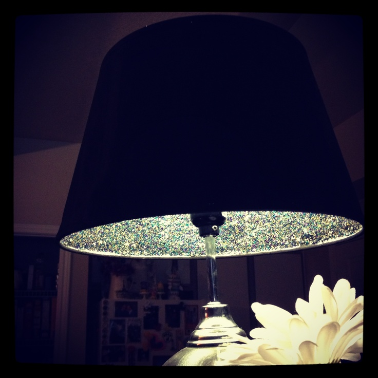 Glitter lampshade - painted black & added glitter to inside with Mod Podge