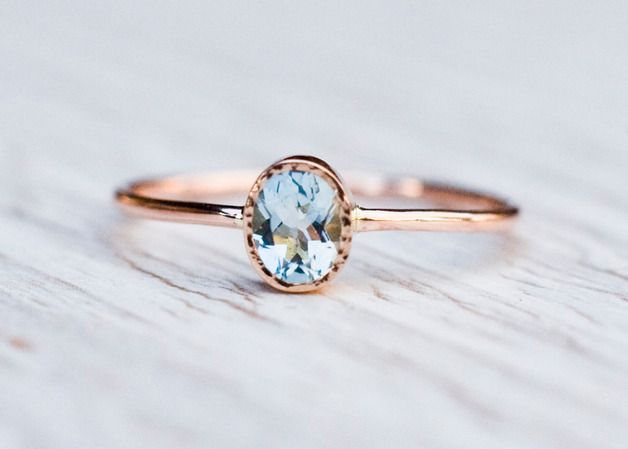 Gold Rings – Rose gold aquamarine ring, engagement ring – a unique product by arpelc via en.DaWanda.com