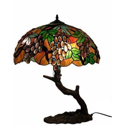 Tree Grape Multicolored Brown Table Lamp