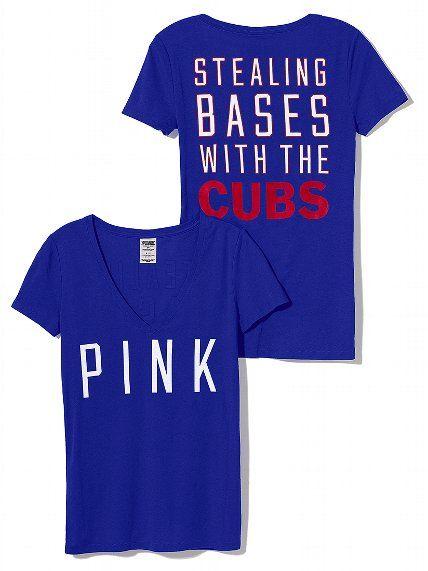 PINK Chicago Cubs V-Neck Tee #VictoriasSecret http://www.victoriassecret.com/pink/chicago-cubs/chicago-cubs-v-neck-tee-pink?ProductID=102103=OLS=true?cm_mmc=pinterest-_-product-_-x-_-x