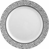 "Elegant White Plastic 7 "" Salad Plate with Silver Trim - Posh Party Supplies"