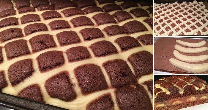 Der Steppdeckenkuchen ist bei uns heutzutage sehr beliebt, deswegen habe ich mir eine neue Variante ausgedacht, die noch schneller vom Blech verschwunden ist als die klassische. Die Kombination von Schokocreme, Bananen und einem Steppdeckenmuster ist einfach TOP!