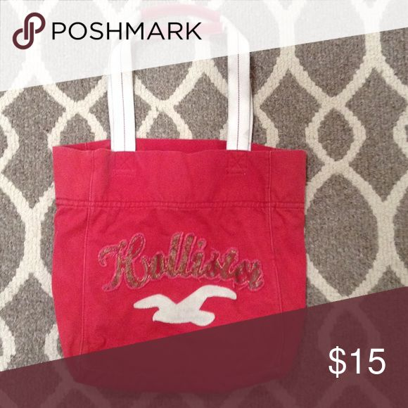 Hollister beach bag Red hollister tote bag gently used Hollister Bags Totes