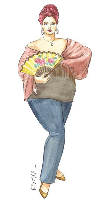 My plus size fashion illustration of the beautiful Katana Fatale