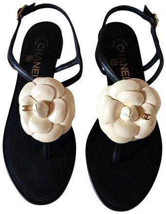 d3e20fbf1488 Chanel Black Cream Camellia Cc Ankle Strap Leather Sandals Size US 7 Wide  (C
