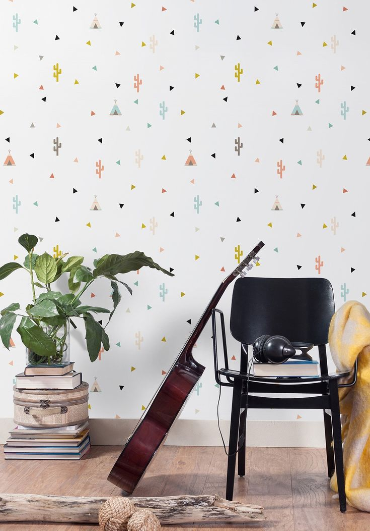 Elegant A Free Spirited Kids Wallpaper Featuring Cute Pastel Cacti, Teepees And  Confetti.