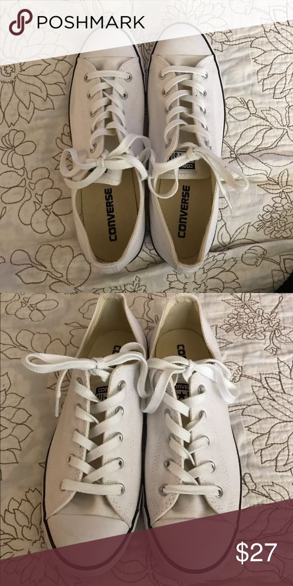 White Converse Shoes White/Black Converse Shoes Dainty style. Worn once. Like Brand new Converse Shoes Sneakers