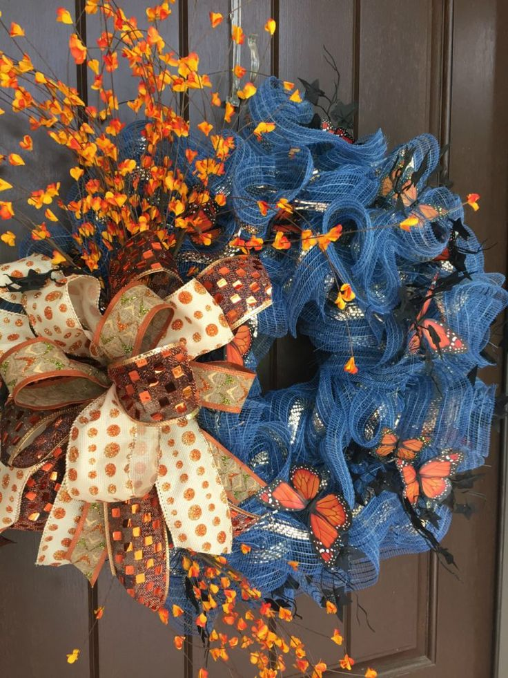 2017 Autumn Denim Wreath with Butterflies Tutorial - Trendy Tree Blog| Holiday Decor Inspiration | Wreath Tutorials|Holiday Decorations| Mesh & Ribbons