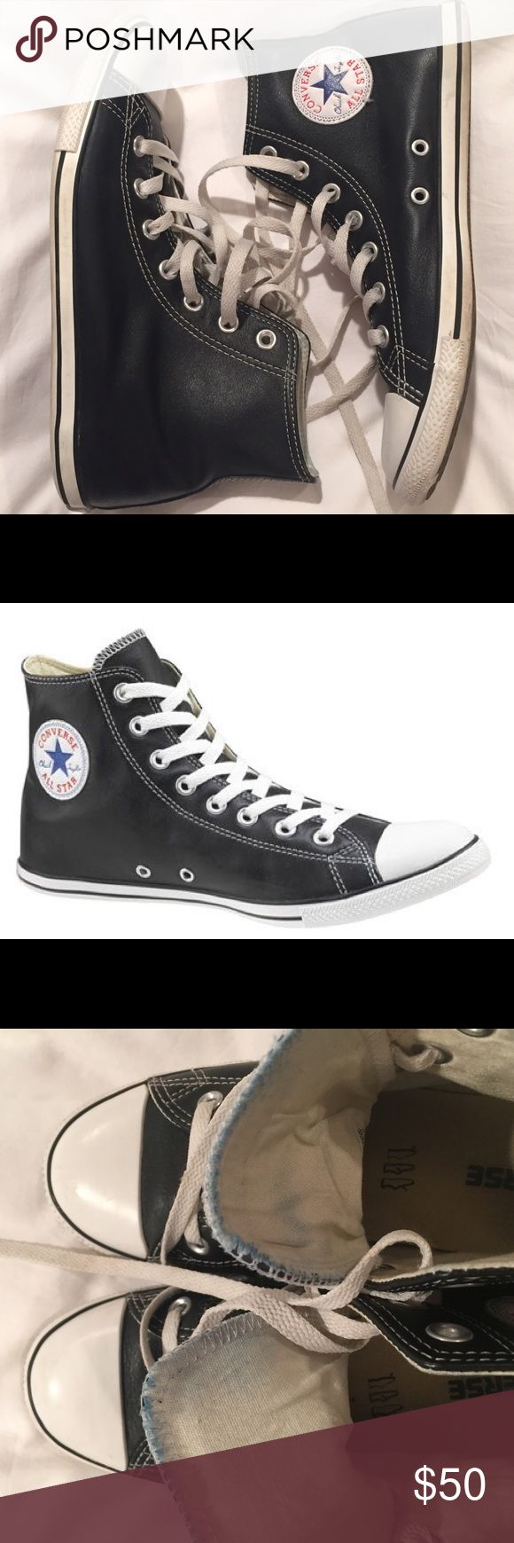 "leather converse high tops SLIM Iconic leather All Star convers sneakers. SLIM sole - rare to get now. Black leather. Unisex. Men6/ Women 8. Very good condition. Little worn ""all star"" on a back and slight blue fading inside from jeans - see the pics. They were worn to Madonna's concert in NYC. Converse Shoes Sneakers"