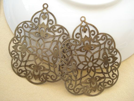 6pcs Large Filigree Base Connector Antiqued Brass by yooounique, $2.50