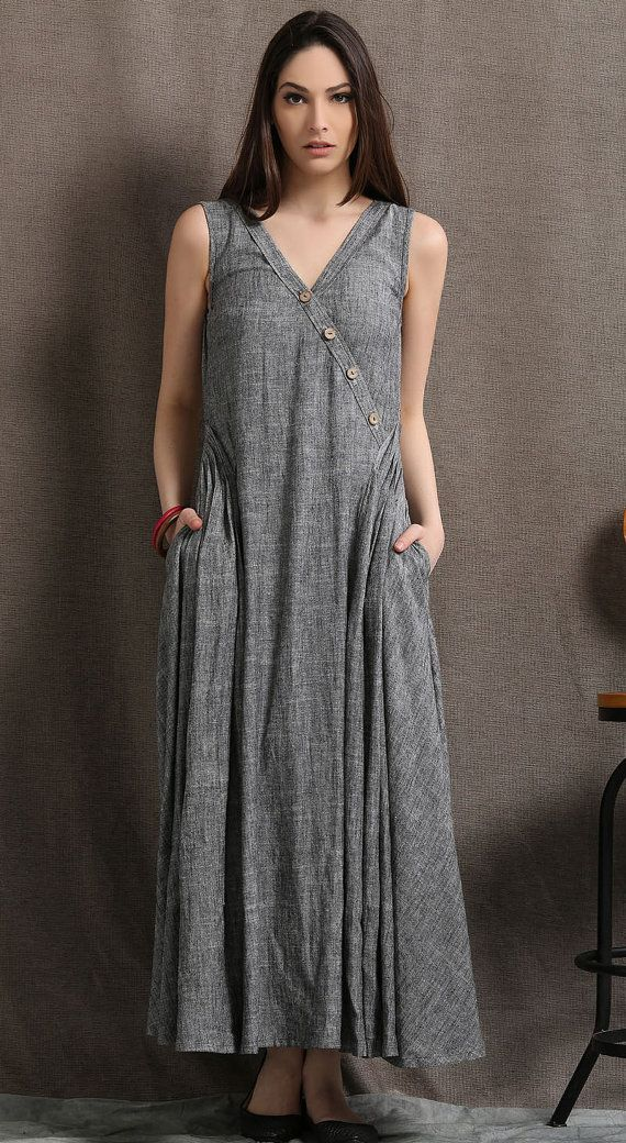 Gray Linen Maxi Dress Summer Sleeveless Grey Marl by YL1dress