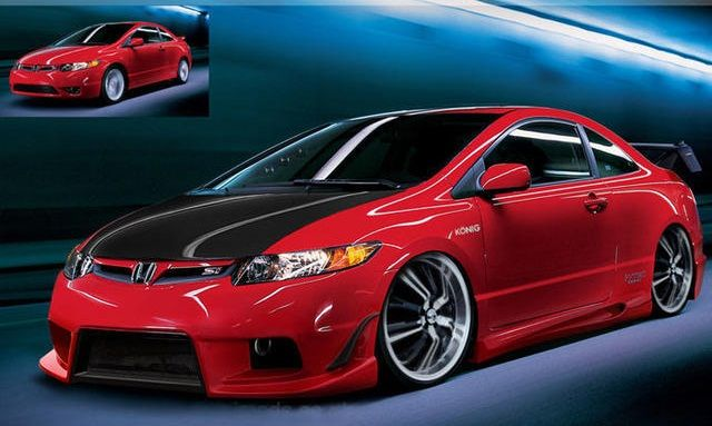 Custom red and black rims red honda civic with super low for Honda civic customization ideas
