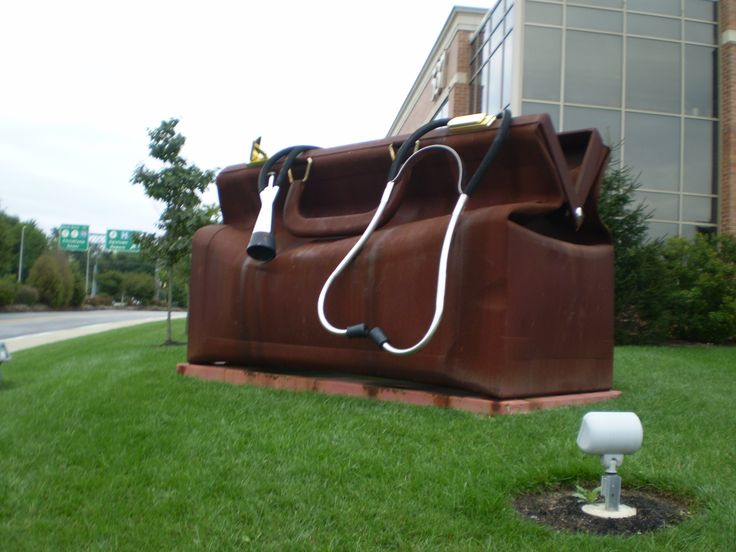 A giant version of a leather house call bag, stethoscope overflowing out the top, is outside the Apex Medical Center in Newark, Delaware. It is about  10 feet tall, maybe 20 feet long.