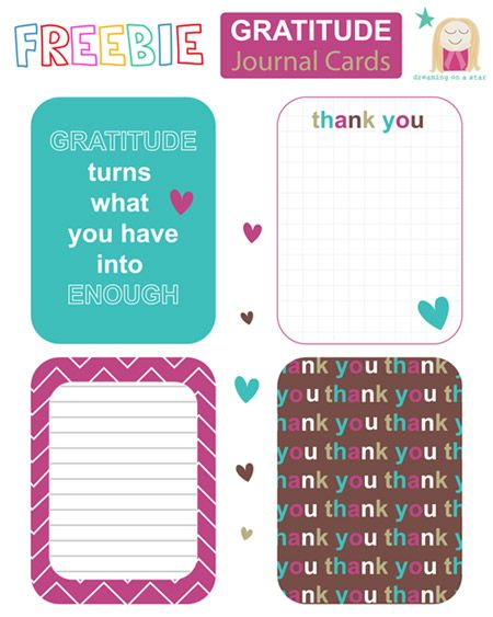 Free Gratitude Journal Cards from Dreaming on a Star