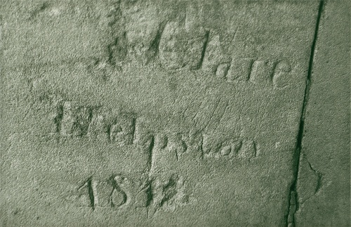 John Clare's name carved under small Lolham Bridge.