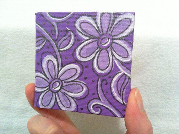 Purple Flowers Mini Canvas Painting On Etsy 17 99 Ideas Art