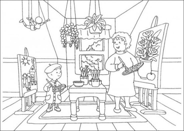 Caillou Staying On Granny House Coloring Pages