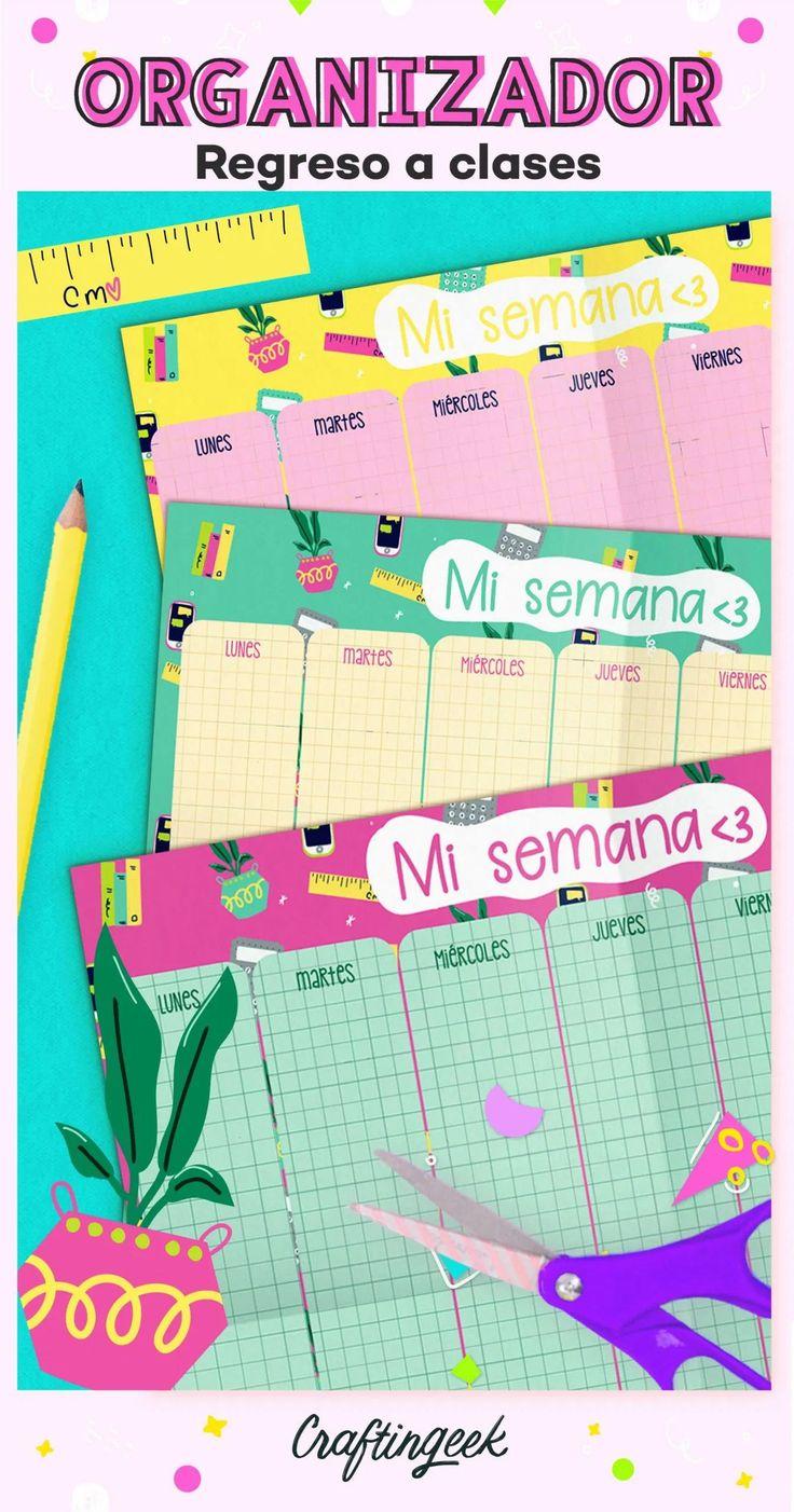Organizador semanal para imprimir y tener días bonitos Beautiful Notes, Bullet Journal School, Cool Gadgets To Buy, Ideas Para, Back To School, Origami, Study, Printables, Lettering