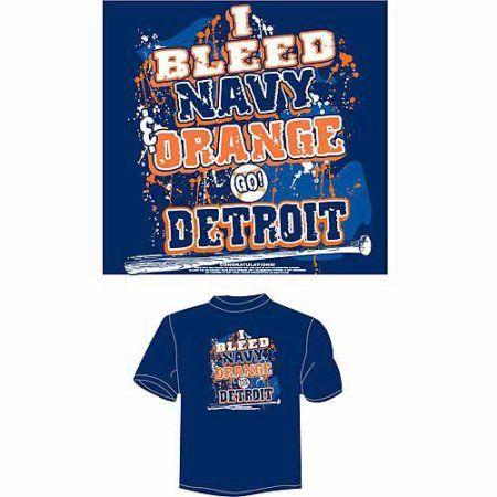 Detroit Baseball I Bleed Navy and Orange, Go Detroit T-Shirt, Blue, Men's, Size: Medium