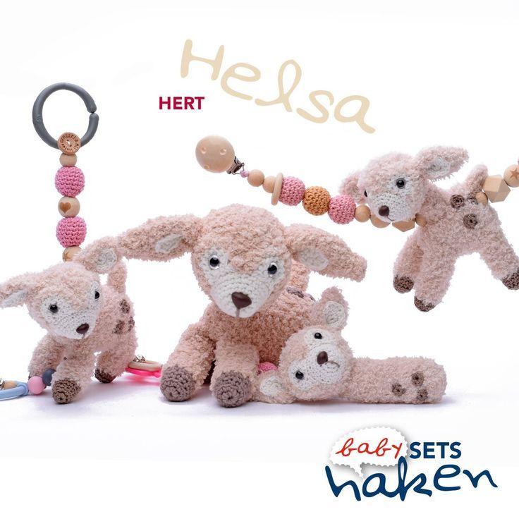 Babysets haken 2 - Hert Helsa. Haakpatroon en haken.