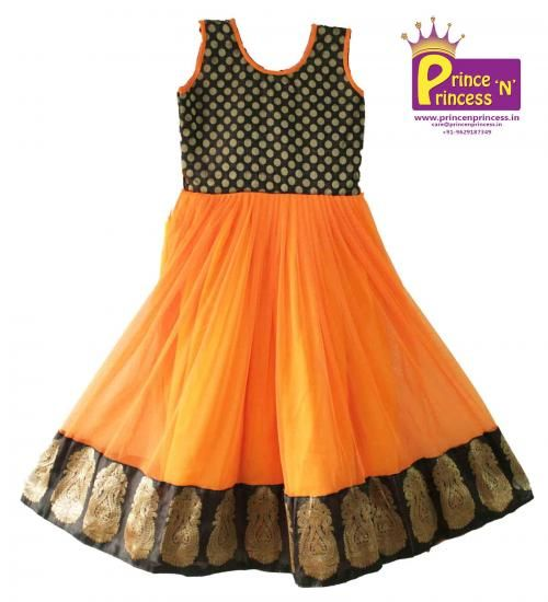 Cute Gorgeous Evening Gown for Kids . .. For more details www.princenprincess.in  Black & Orange .. Long frock