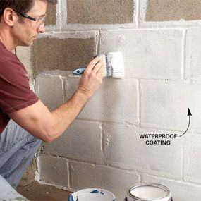 Waterproofing basement walls go on like paint fill the pores in the concrete or masonry walls and prevent water from leaking in. To be effective, these coatings must be applied to bare concrete or masonry walls. Start by removing loose material with a wire brush. Then clean off