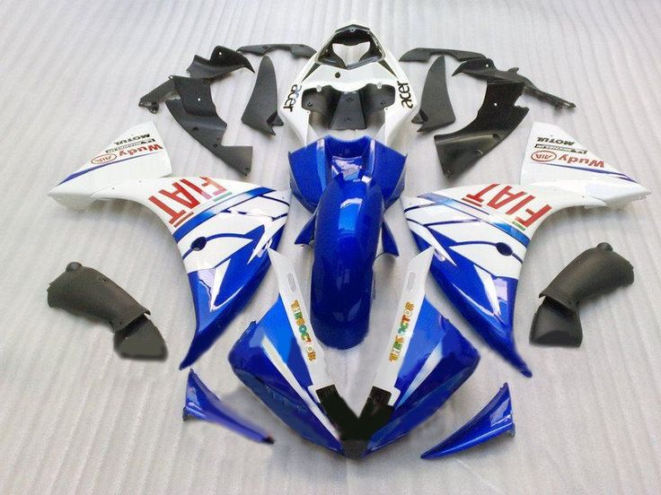 (387.00$)  Know more  - Injection molding ABS fairing kit for YAMAHA R1 2009-2014  YZF-R1 09 10 11 12 13 14 blue white fairings set TH17